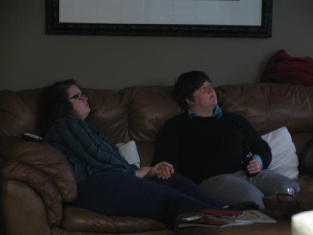 While the quality of this photo is hideous, the subjects are dear to me. My niece and niece-in-law relaxing and catching the game on Thanksgiving afternoon.